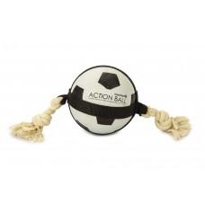 Beeztees Action Voetbal Met Touw - Hondenspeelgoed - 12,5 cm DIA