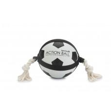 Beeztees Action Voetbal Met Touw - Hondenspeelgoed - 19 cm DIA B