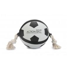 Beeztees Action Voetbal Met Touw - Hondenspeelgoed - 22 cm DIA B