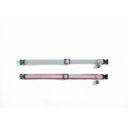 Beeztees - Kattenhalsband - Nylon - Grijs/Rood - 19,5-32,5 cm 19