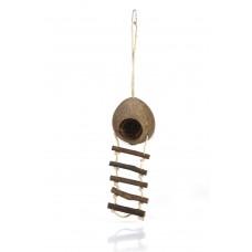 Beeztees Kokosnoothuisje+Ladder - Knaagdierspeelgoed - 30 cm 30