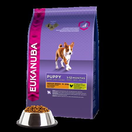 -   Eukanuba dog puppy/junior medium chicken 12 kg